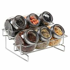 NEW 6 Jar Metal and Glass Food Spice Kitchen Storage Container Rack  MyGift