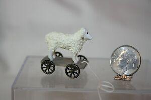 Miniature Dollhouse Wood Sheep Childs Pull Toy or Primitive Folk Art Display NR