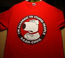 Seth MacFarlane Family Guy Brian T Shirt ADULT Med Tee Allergic To Stupid People