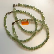 """Natural Green Stone Cube Beads Handmade Anklet Ankle Bracelet 10.5"""" Long"""