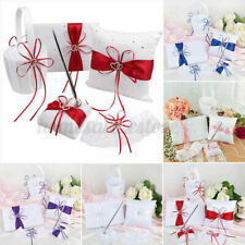 5pcs/Set Wedding Guest Book + Pen Set + Flower Basket + Ring Pillow Ribbo