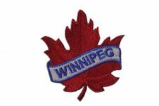 WINNIPEG RED MAPLE LEAF  IRON-ON PATCH CREST BADGE . SIZE: 2.5 X 2.5 INCH