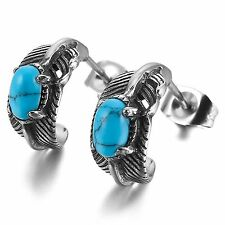 MENDINO Men's Women's 316L Stainless Steel Stud Earrings Feather Turquoise Blue