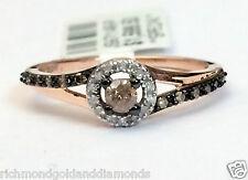 Champagne Diamond 14k Rose Gold Halo Engagement Ring Bridal Vintage Split Snak