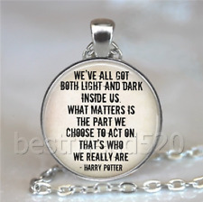 Harry Potter Quotes Photo Tibet Silver Cabochon Glass Necklace Pendant#D189