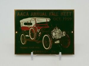 AACA Annual Fall Meet 1959 Thomas Flyer 1910 Hershey PA Brass Car Plaque Badge