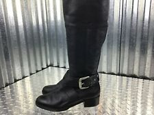 Fossil Classic Leather Knee High Riding Boots Sliver Buckle Size 6.5  1.5 Heel
