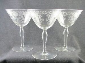 FOSTORIA WOODLAND ETCHING SET OF 3 COCKTAIL OR WINE GLASSES 5 INCH CLEAR 1920S