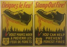 1938 Tin Sign Stamp Out Fire! Forrest New Brunswick Pair French English General
