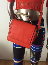 NWOT Melie Bianco orange cross body purse gold hardware chain faux vegan leather