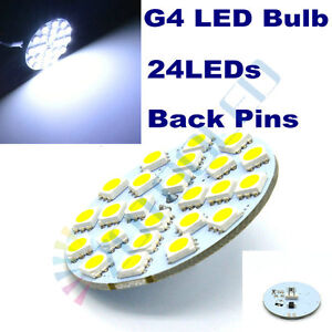 2x G4 LED Bulbs Cool White 6500K Back Pins 24LEDs 5050 Replace Halogen Spotlight