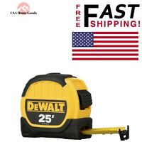 "DEWALT 25' Tape Measure 1-1/8"" Wide Blade SAE Locking DWHT36107 Compact Wide"