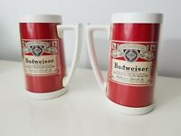 2 Vintage 1970's Budweiser Thermo-Serv Insulated Plastic Beer Mug Made in USA