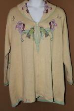 STORYBOOK KNITS Enchanted Gaze Hummingbird Flower LS Cardigan Sweater 3X