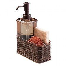 mDesign Soap Dispenser Pump, Sponge and Scrubber Caddy Organizer for Kitchen