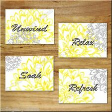 Gray and Yellow Wall Art Prints Floral Decor Bathroom Unwind Relax Soak Refresh
