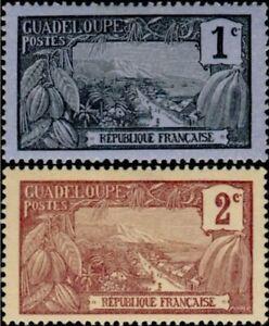 EBS French Guadeloupe 1924 Leopard GP 55-56 MNH**