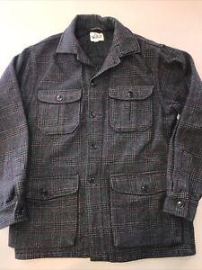 Vtg Woolrich Gray Plaid Wool Hunting Jacket Coat (Game Pocket) Mens 38