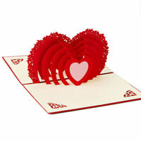 3D Pop Up Big Heart Valentine Anniversary Wedding Birthday Greeting Card