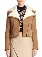 NWT Carven Suede Shearling-Lined Moto Jacket Size 36 / US 4 MSRP $3000+