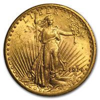 1914-S $20 Saint-Gaudens Gold Double Eagle AU - SKU#34267