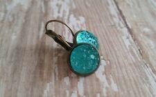 crystal druzy earrings, aqua, faux, acrylic, bronze leverback,