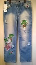 "Dolce and Gabbana BNWT distressed embroidered Hawaii jeans Size 36"" Waist 33"" L"