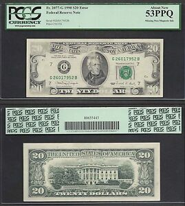 $20 1990 FRN Insufficient Inking Error Face PCGS About New 53PPQ