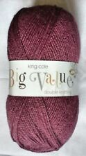 6 x 100 gram pack King Cole Big Value double knitting yarn -shade 44 Aubergine