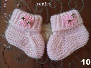 Chaussons bébé fille laine,chaussons naissance tricotés main,cadeau