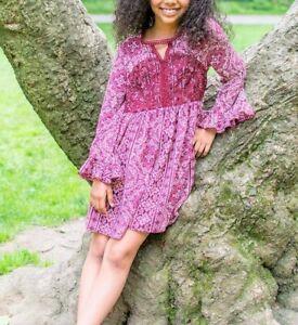 IRIS & IVY BONNIE JEAN® Girls' 12, 14, 16 Burgundy Peasant Dress NWT $56