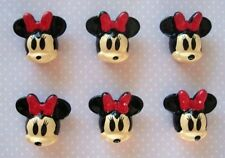 20 Red Bow Minnie Mouse Resin Flatback Button/bead/girl/embellishment/craft B4