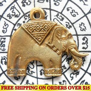 Magic Lucky Elephant Thai Amulet Pendant Hunting Money Wealth Talisman Fetish FS