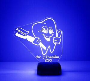 Light Up Tooth, Engraved Dentist Gift, with Remote Control, Dental Office Sign