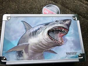 Vaultz Locking Pencil Supply Box Shark w/Keys 5.5x8.25x2.5