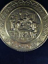 "Brass Decorative 10"" Plate Pub Scene Made in England"