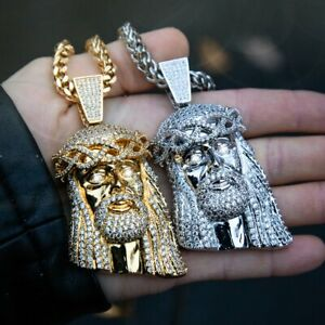 "Hip Hop Jesus Head Pendant & 6mm 30"" Box Cuban Stainless Steel Chain Necklace"