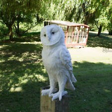 Matte White Resin Owl Decoration Outdoor Ornament Bird Sculpture Indoor Statue