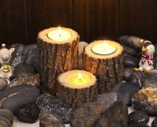 2 Tea Light Candle Holders Tree Stump Log Indoor/Outdoor