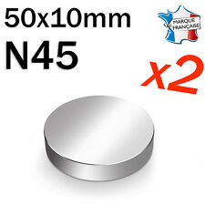 LOT DE 2 SUPER AIMANT MAGNET NEODYM DISQUE N45 - 50x10mm - 125Kg