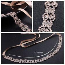 Elegant Satin Wedding Ribbon Belt Rhinestone Bridal Dress Accessory Belly Chain