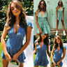Sexy Women Summer Boho Belted & Deep V Neck Party Beach Wrap Dress Sundress