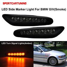 2x Smoked LED Side Marker Turn Lamps Lights For BMW E46 E60 E61 E81 1 3 5 Series