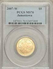 "U.S.  2007-W  $5  ""JAMESTOWN"" COMMEMORATIVE GOLD COIN, PCGS CERTIFIED MS 70"