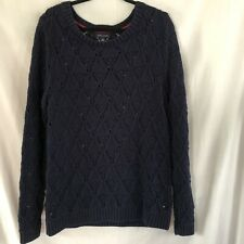 Tommy Hilfiger Womens Navy Blue Open Chunky Knit Long Sleeve Sweater Sz XL
