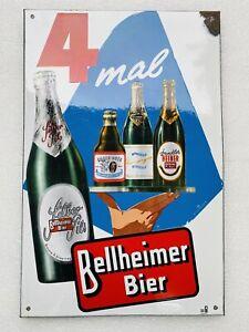 Emailschild Bellheimer Bier 59x38cm toller Zustand Original & Unrestauriert