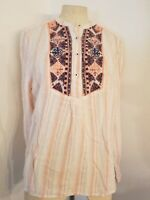Holding Horses Anthropologie Button Front Embroidered Top Sz L  Striped Womens