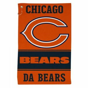 """CHICAGO BEARS ALL PURPOSE GOLF TAILGATE TOWEL 16""""X25"""" HOOK AND GROMMET"""