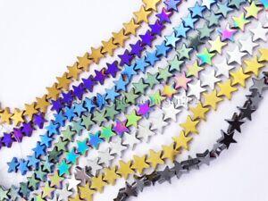 Natural Hematite Gemstone Flat Star Beads 16'' 6mm 8mm 10mm Metallic Colors