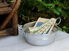 Miniature Dollhouse Fairy Garden Accessories ~ Metal Washtub w Wood Washboard